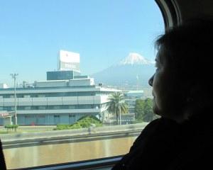 新幹線から富士山を望む